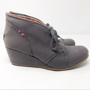 Mad Love | Gray Canvas Lace Up Wedges